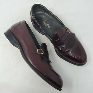 Footjoy Classics Burgundy Leather Monk Strap Loafer 8 D Kilt Kiltie Apron Toe