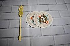 New Unused Disneyland CLUB 33 Summer of Tiki Swizzle Stick  2 Coasters
