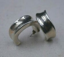 925 Concave Hoop Earring Post Signed Simon Sebbag Sterling Silver