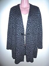 Charter Club Gray & Black Leopard Print Silver Clasp Long Cardigan XL Worn Once