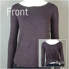 HEATHER : XS SM :  NWT ANTHROPOLOGIE Long Sleeve Pleated Back Sweater Top Gray