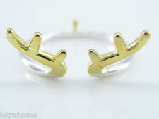925 Sterling Silver Yellow Gold Reindeer Horns Tiny Tail Adjustable Rings Gift