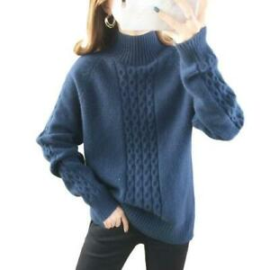 6 Colors Women High Neck Knitted Sweater Pullover Casual Long Sleeve Tops ZHQ05