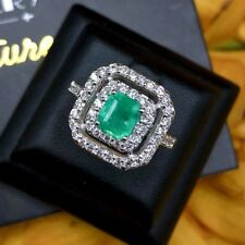 COLOMBIAN 2.10TCW Natural Emerald VS Diamond 18k white gold halo ring Engagement