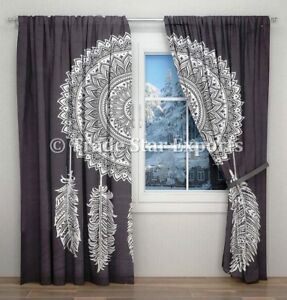Indian Mandala Curtains Hippie Black And White Dream Catcher Door Window Curtain