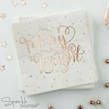 ROSE GOLD METALLIC STAR Christmas Paper NAPKINS (33cm)-Xmas Party- RANGE IN SHOP