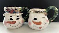 Set of 2 Snowman Head Ceramic Mugs Better Homes Gardens His Hers Holly Cardinal