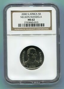 South Africa Year 2000 5R Nelson Mandela R5 Smiley Madiba Coin NGC MS 62