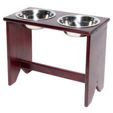 """Elevated Dog Bowls Stand - Wooden - 2 Bowls - 400 mm/16"""" Tall - Raised Dog Bowls"""