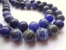 10mm Round Natural Blue Sodalite Gemstone Beads - Half Strand, 19pcs