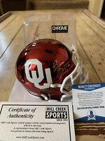 Brian Bosworth Autographed/Signed Chrome Mini Helmet Beckett Oklahoma Sooners