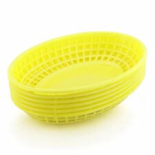 BarBits Yellow Oval Fast Food Baskets Set of 6 - American Plastic Burger Chips