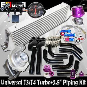 "DIY Universal EMUSA T3/T4 Turbo FMIC 2.5"" Black Piping Kit"