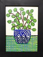 Original Framed Painting Of A Money Tree In Vase ,folk/naive Art,  House Plant
