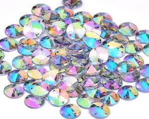 50X CLEAR AB ROUND Sew On Rhinestone Diamante Faceted Beads Gems Acrylic 7,912mm