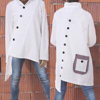 Plus Size Women Cotton Long Sleeve Tunic Tops Ladies Jumper Sweater Shirt Blouse