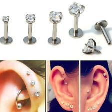Ear Tragus Cartilage Stud Piercing Crystal Lip Bar Labret Internally Threaded