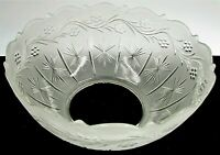 Antique Satin Glass Upturned Gas Oil Lamp Shade Victorian Rim Clear Flowers Star