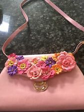 Bally Pink Leather Purse Flowers Bag Cross body Shoulder Bag Made in Italy