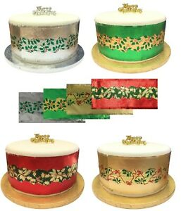 Christmas Cake Frill banding ribbon Green Silver Red Gold 9 x 86cm **13 Styles**