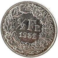 Switzerland 1/2 Franc 1932 B  Silver Coin KM#23.