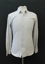 REISS Men's Hustler Black White Slim Fit Micro Dot Stretch Cotton Blend Shirt M