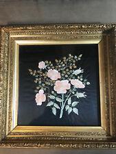 """Antique Needlepoint """"Branch Of Flowers Scene"""" - Framed"""
