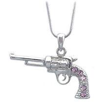 3D Western Cowboy Cowgirl Lavender Revolver Pistol Gun Pendant Necklace
