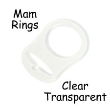 25 Clear Silicone Nuk Button MAM Ring Dummy / Pacifier Holder Clip Adapter