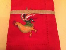 "4 Red French Rooster 19"" Napkins Le Marche Cotton Country Hemstitched"