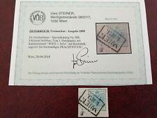 Österreich 1850 type I 9kr. nr.5HI Handpapier Kastenstempel 1.Mai mit Attest.