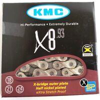 """KMC X8.93 21 / 24-Speed 1/2"""" X 3/32"""" Road / MTB Bicycle Chain 116L fits 3x7 3x8"""