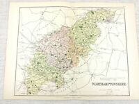 1889 Mappa Antica Di Northamptonshire Northampton Peterborough 19th Secolo