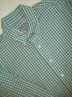 Izod Poplin Dress Shirt Men's Size L Long Sleeve Button-Front Blue Green Check