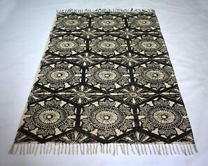 Oriental Block Print Cotton Area Rug Play Room Dining Room 4x6 Dhurrie DN-988