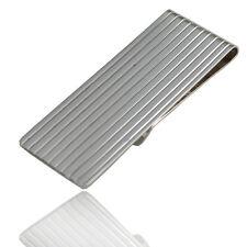 Fermasoldi rettangolare rigato mm 59x20 in argento 925 rodiato-Incisione Gratis-