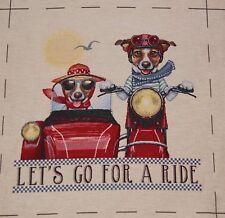 Gobelin sustancia panel 48x48 perro motocicleta sidecar
