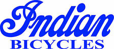 """INDIAN BICYCLE DIE CUT DECAL / STICKER - 8.5"""" X 3.75"""" - SET OF 2 - BLUE"""