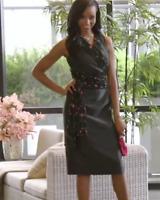 Ashro Black Dress Floral Embrodiery Trim Sash NEW NWT 12, 16W, 18W PLUS
