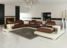 Modern Large LEATHER SOFA Corner Suite NEW Brown & Beige Modular Settee