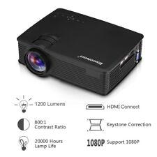 EHD09 Tragbar LED Projektor 1200 Lumen Heimkino Beamer HDMI/USB/AV/VGA Schwarz