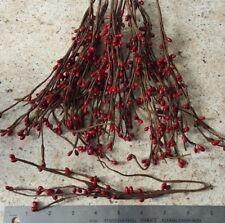 "DLCC~15 PCS PRIMITIVE christmas red pip berry picks 7"""