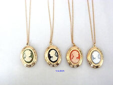 "GOLD PLATED CAMEO LOCKET PENDANT NECKLACE 16"" OR 18"" CHAIN FOR CHILD OR ADULT"
