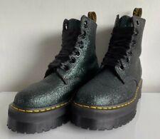 Rare Dr Martens Molly Dark Green Glitter Platform Quad Boots Size UK 8 WORN ONCE