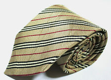 Burberry London Striped Pattern Beige Color Silk Necktie Tie Made In Italy