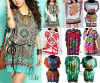 BOHO Women Tunic Kaftan Loose Long Top/Beach Cover Up/Mini Dress AU SELLER T008