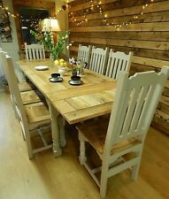 Large Extending Rustic Oak Style Painted Dining Table Bench Chairs 10-12 Seater