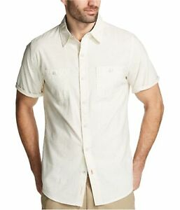Weatherproof Mens Vintage Chambray Button Up Shirt, Off-White, Large