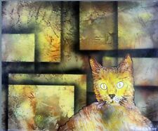 """Cat's Labyrinth. Original Painting ON CANVAS 20"""" X 16""""  By RWest. W/COA"""
