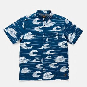 Mens 10 Deep Island Life Button Up Shirt Blue Size Medium